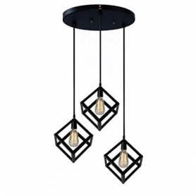 Lustre 3 cubes en métal - Avec 3 lampes filaments