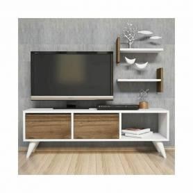 Elément Tv - Primo -MDF Stratifé - 150*41*33 cm - Blanc & Effet bois