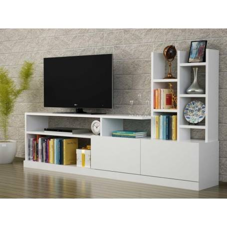 Meuble Tv - Bois MDF stratifié - 150*100*32 cm-  Blanc
