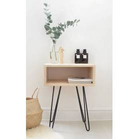 Table De Nuit -  Acacia & Fer  - Industriel