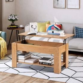 Table Basse  - Relevable - MDF Stratifié - Chêne Sonoma