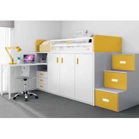 chambre Rima - MDF Stratifié - Blanc & Jaune
