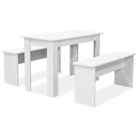 Table et bancs de salle à manger  - Bois MDF - 120 *80*80 cm-  3 pcs- Blanc