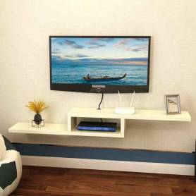Meuble Tv - Bois MDF stratifié - 100*25*25 cm-  Blanc