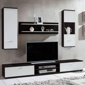 Elément TV Caro - 190*33*35 - Bois MDF - Blanc & Noir