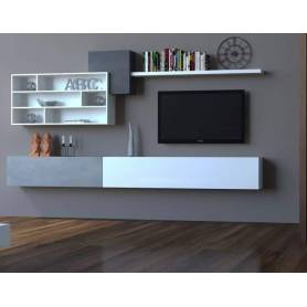 Living tv  - MDF Stratifié  - 200x30x32cm - Blanc & Gris