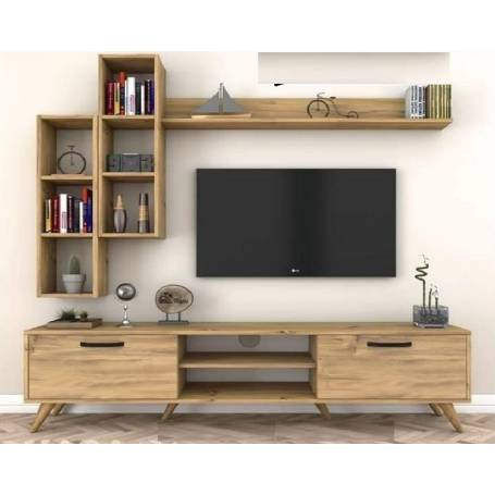 Elément TV Scandinave  - 180*48*35 - Bois MDF - Chêne