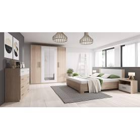 Chambre a Coucher - MARCO - Bois MDF - Sonoma & Blanc