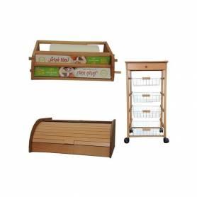 Pack : Portes légumes 4 tiroirs + Distributeur Dérouleur Double D'Essuie + Porte Pain - Bois