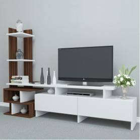 Meuble TV - OSTRAL - Bois MDF -  Blanc & Marron