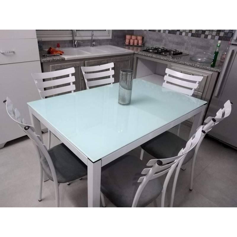 table cuisine luxy avec 6 chaises 120 80cm