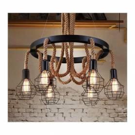 Lustre suspension industriel corde en fer forge - avec 6 lampe filament - Noir